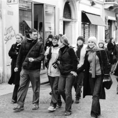 Students walking in florence