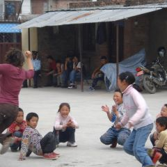 Volunteer with Tibetan refugees