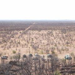 Aerial view of camp in bush