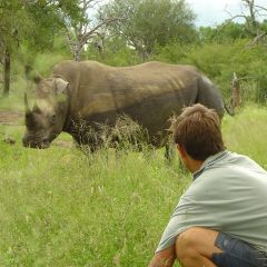 Volunteer with rhino