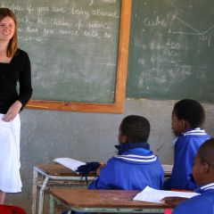 Volunteer teaching a class