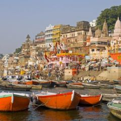 Boats on the Ganges in Varanasi
