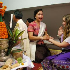 26. gvi volunteer, rachel, at a baci ceremony recieving a blessing