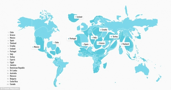 The world map, resized according to most popular travel destinations Featured Image
