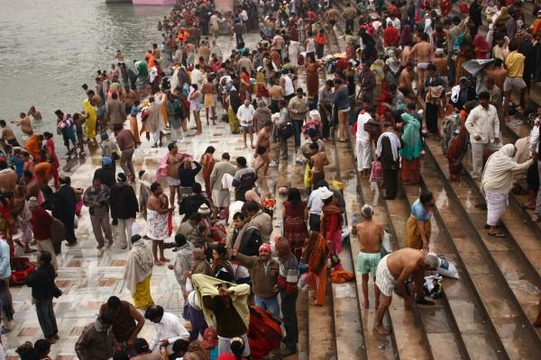A gathering at the Ganges, India