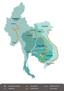 Stray Asia Network Map - Stray with us in Myanmar, Thailand, Laos, Cambodia and Vietnam