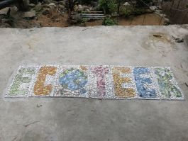 A tile mosaic made by volunteers