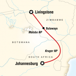 Kruger, Falls & Zimbabwe - Route Map