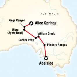 The Red Centre to Adelaide - Route Map