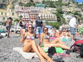 Relaxing on the beach of Positano
