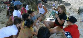Ellen and becca teaching students from the international school