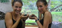 Anna and Polly with some baby giant tortoises
