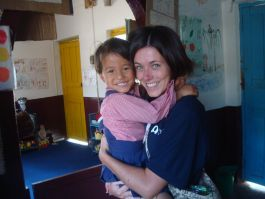 Sarah assisting at a day care centre in Pokhara