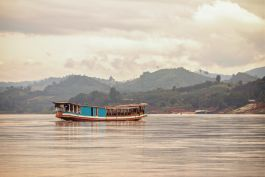Mekong River boat in Laos