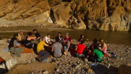 Lunch by the river at Todra gorge